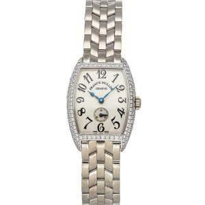 Franck Muller Silver 18K White Gold Cintree Curvex 1750 S6 PM D Women's Wristwatch 25 x 35 MM