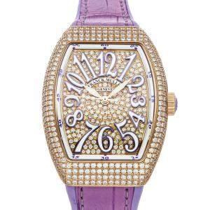 Franck Muller Champagne Diamonds 18K Rose Gold Vanguard Lady 35 V SC AT 5N FO D CD VL Women's Wristwatch 46 x 35 MM