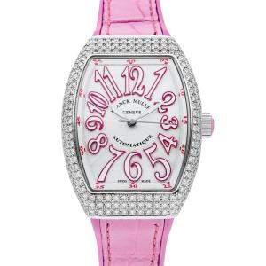 Franck Muller Silver Diamonds Stainless Steel Vanguard 32VSCATACFODRS Women's Wristwatch 32 x 42 MM