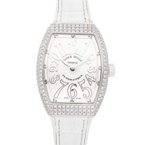 Franck Muller Silver Diamonds Stainless Steel Vanguard 32 V SC AT AC FO D BC Women's Wristwatch 32 x 42 MM