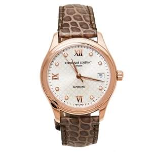 Frederique Constant Rose Gold Plated Stainless Steel & Leather Automatic Women's Wristwatch 36 mm