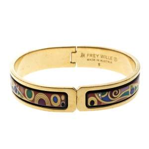 Frey Wille Hommage A' Gustav Klimt Enamel Gold Plated Ballerina Clasp Bracelet S