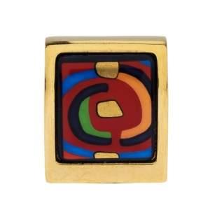 Frey Wille Hommage à Hundertwasser Spiral of Life Multicolor Fire Enamel Square Pendant