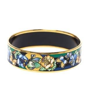 Frey Wille Vintage Multicolor Fire Enamel Gold Plated Wide Bangle Bracelet