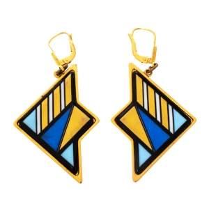 Frey Wille Multicolor Fire Enamel Gold Tone Dangle Earrings