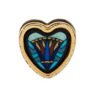 Frey Wille Vintage Blue Fire Enamel Gold Plated Heart Pendant