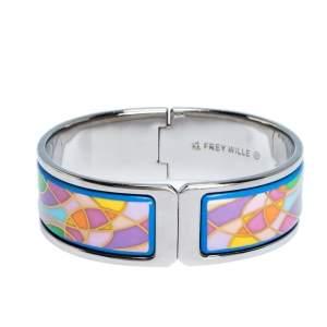 Frey Wille Ode to Joy of Life Fire Enamel Palladium Plated Regina Clasp Bangle Bracelet