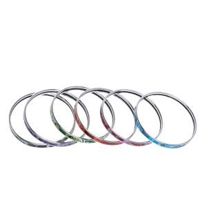 Frey Wille Magic Sphinx Multicolor Bordered Bangles Ultra Set of Six L