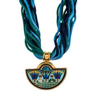 Frey Wille Blue Halfmoon Fire Enamel Pendant Multi Strand Silk Necklace