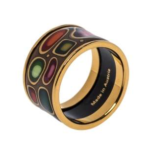 Frey Wille Hommage à Hundertwasser Multicolor Fire Enamel Band Ring Size 53