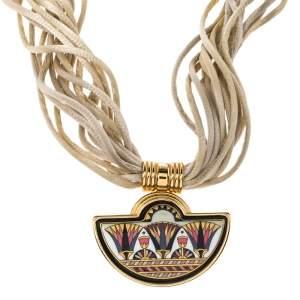 Frey Wille Fire Enamel Gold Plated Multi Strand Silk Cord Halfmoon Pendant Necklace