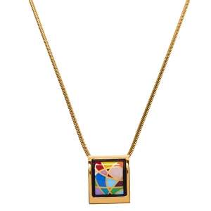 Frey Wille Ode to Joy of Life Fire Enamel Gold Plated Pendant Necklace