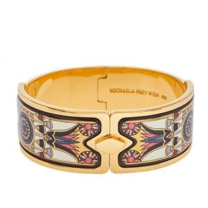 Frey Wille Vintage Fire Enamel Motif Gold Plated Hinged Bangle