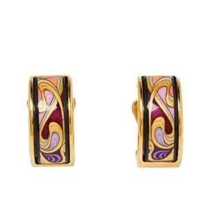 Frey Wille Hommage à Alphonse Mucha Fire Enamel Gold Plated Hoop Earrings