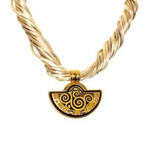 Frey Wille Hommage À Gustav Klimt Fire Enamel Half Moon Pendant Necklace