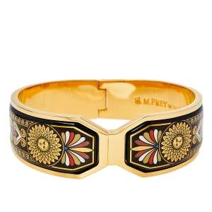 Frey Wille Vintage Greco Roman Sun Fire Enamel Gold Plated Contessa Clasp Bracelet