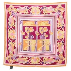وشاح فري ويل حرير طباعة زهور تجريدية متعددة الألوان مربع