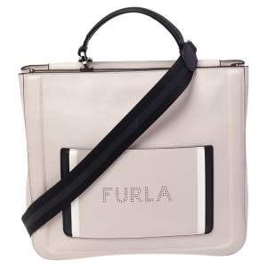 Furla Beige Leather Reale North South Convertible Tote