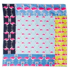 Furla Multicolor Flamingo Print Stacy Silk Scarf