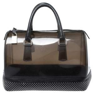 Furla Black PVC and Leather Studded Candy Satchel