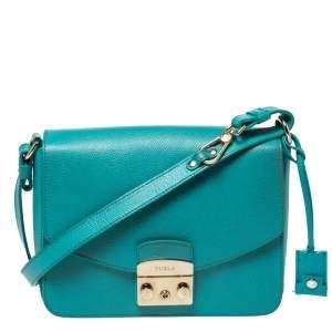 Furla Turquoise Leather Metropolis Shoulder Bag