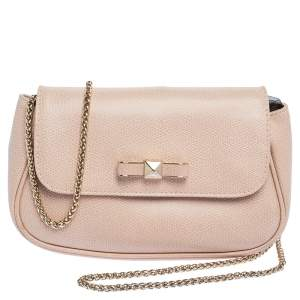 Furla Beige Leather Chain Shoulder Bag