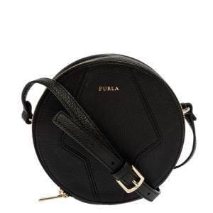Furla Black Leather Mini Perla Round Crossbody Bag