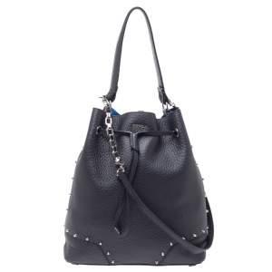 Furla Black Leather Drawstring Bucket Bag