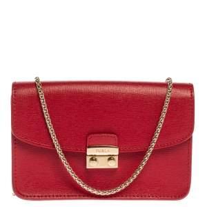 Furla Red Leather Mini Metropolis Chain Crossbody Bag