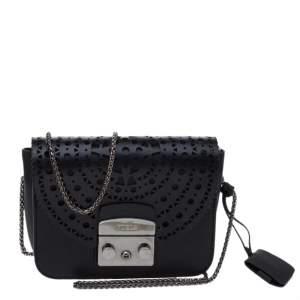 Furla Onyx Black Laser Cut Leather Mini Metropolis Crossbody Bag