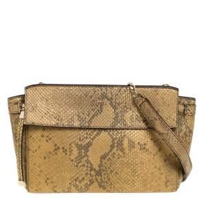 Furla Gold Snakeskin Effect Leather Shoulder Bag