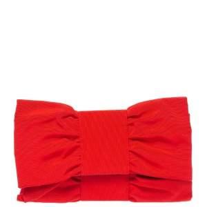 Furla Red Canvas Bow Clutch