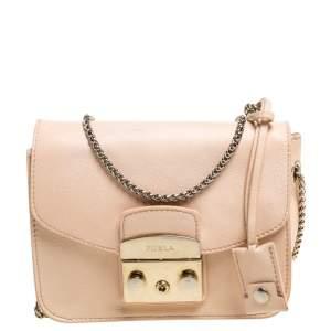 Furla Beige Leather Mini Metropolis Chain Shoulder Bag