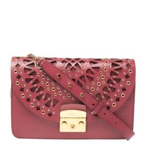 Furla Red Leather Metropolis Bolero Shoulder Bag