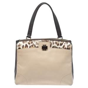 Furla Brown/Beige Leather and Calfhair Satchel