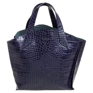 Furla Blue Croc Embossed Leather Jucca Tote