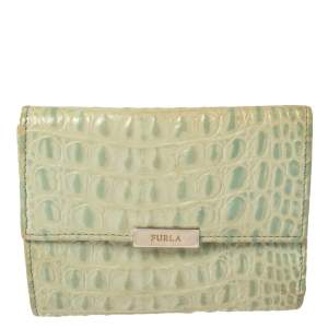 Furla Mint Green Croc Embossed Leather Compact Wallet