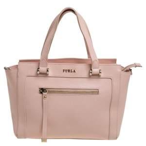 Furla Light Pink Leather Front Pocket Tote