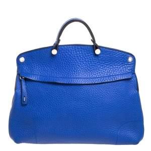Furla Blue Grained Leather Piper Dome Satchel