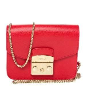 Furla Red Leather Mini Metropolis Chain Shoulder Bag