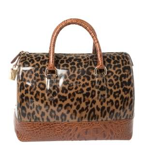 Furla Brown Leopard Print Rubber and Croc Embossed Leather Medium Candy Satchel