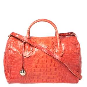 Furla Crimson Red Croc Embossed Leather Satchel