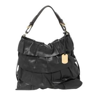 Furla Black Ruffle Leather Buckle Handle Hobo