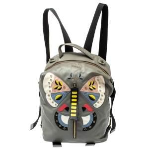 Furla Grey Soft Leather Patchwork Backpack