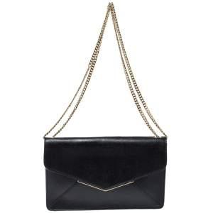 Furla Black Leather Envelope Flap Shoulder Bag