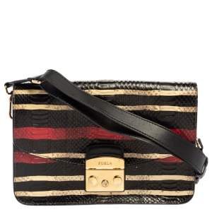 Furla Multicolor Python and Leather Metropolis Shoulder Bag