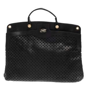 Furla Black Perforated Leather Piper Top Handle Bag