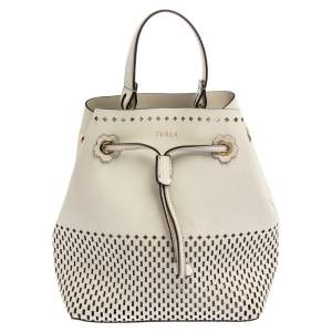 Furla White Perforated Leather Mini Stacy Bucket Bag