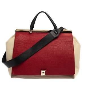 Furla Tri Color Leather Cortina Top Handle Bag