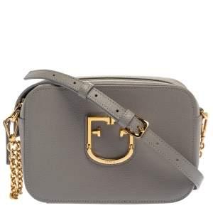 Furla Grey Textured Leather Mini Brava Crossbody Bag